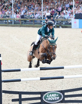Abdullah Al Sharbatly and Tobalio on their way to winning the Kings Cup at the Royal Windsor Horse Show.