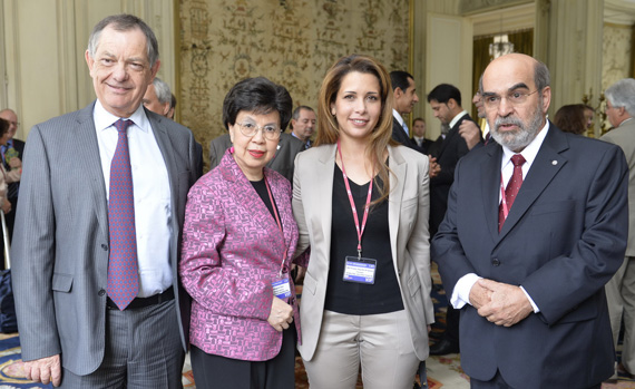 "Dr Bernard Vallat, OIE Director General, left, Dr Margaret Chan, Director-General of the World Health Organization, and, right, Mr José Graziano da Silva, Director-General of the Food and Agriculture Organization of the United Nations are pictured with FEI president Princess Haya, who is also president of the International Horse Sports Confederation, at the opening of the 2014 World Assembly of OIE Delegates General Session in Paris. The green light to adopt the ""high health, high performance horse"" (HHP) concept was given at the gathering. Photo: Richard Juilliart/FEI"