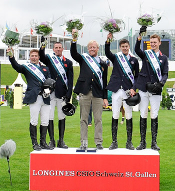 The victorious British team on the podium at St Gallen; from left, Robert Whitaker, Guy Williams, Chef d'Equipe Rob Hoekstra, Daniel Neilson and Spencer Roe.