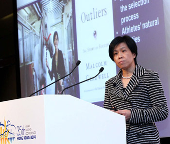 Amy Chan tells delegates of the scope of training in the racing industry.