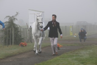 Clarke Johnstone and Balmoral Sensation at the trot-up on Sunday morning.
