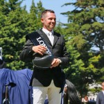 An emotional Eric Lamaze on the presentation podium.