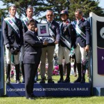 The French team won the La Baule leg of the Furusiyya FEI Nations Cup Jumping series. Pictured on the podium (L-R): Kevin Staut, Aymeric de Ponnat, Chef d'Equipe Philippe Guerdat, Penelope Leprevost and Jerome Hurel being presented with a silver tray by Dr Ali al Qarny, the Kingdom of Saudi Arabia's Charges d'Affaires to France.