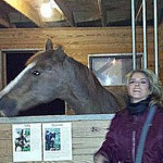 Keynote Speaker Jane Velez-Mitchell, with former PMU Mare Fiona at the American Equine Summit.