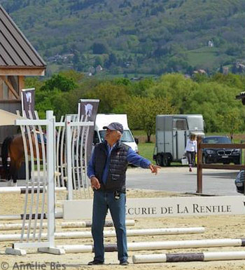 Nelson Pessoa directs students at the clinic at La Renfile Stables.