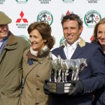 Paulank Brockagh's owners Frank and Paula Cullen with Sam and Lucy Griffiths after their mare won the Badminton Horse Trials on Sunday.