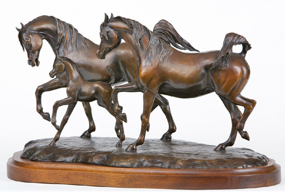 """South Wind"", by Judy Nordquist, is among several arabian horse bronzes up for sale at the Gleannloch auction next month."