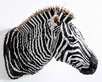 """Zebra"", made from coloured pencils."