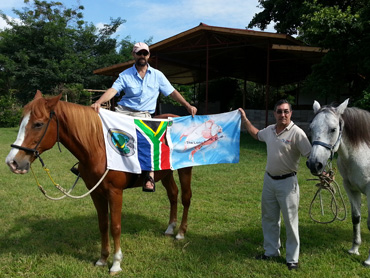 Billy Brenchley visits the horses the couple used on their epic ride in Tanzania in February this year. It would be the last time he would see Chami and Nali.