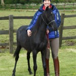 British Olympic gold medallist Charlotte Dujardin with her adopted foal, Santa. Photo: British RSPCA