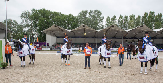 The winning Dutch team, from leftEdward Gal, Hans-Peter Minderhoud, Adelinde Cornelissen and Danielle Heijkoop.