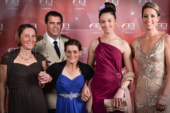 "Last year's FEI Awards winners, from left: Carmen Thiemann (GER) - Best Groom; Colonel Nuñez (URU), director of the National Army Riding School ""Grito de Asencio"" - Development; Joann Formosa (AUS) - Against All Odds; Reed Kessler (USA) - Longines Rising Star; Charlotte Dujardin (GBR) - Reem Acra Best Athlete."