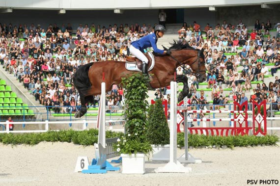 Pénélope Leprévost and Vagabond at the WEG jumping test on Wednesday.