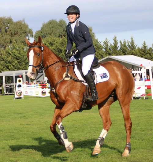 Gabrielle Pither shows her delight at winning the CCI2* on Max Almighty.