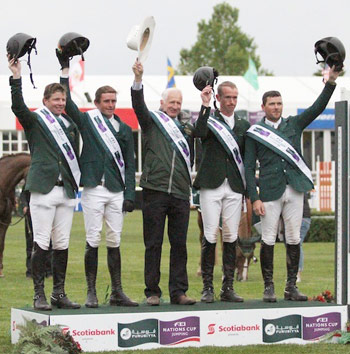 Team Ireland on the podium after their convincing victory in the latest Furusiyya FEI Nations Cup Jumping leg at Spruce Meadows in Calgary, Canada. L-R: Shane Sweetnam, Darragh Kenny, Chef d'Equipe Robert Splaine, Richie Moloney and Conor Swail.