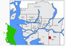 Location of Langley in British Columbia, Canada.