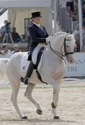 Russia's Alexandra Korelova and Balagur, who finished sixth in the Kur at the 2007 European Dressage Championships. Picture: