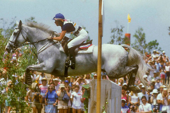 Karen Stives and Ben Arthur on their way to individual silver and team gold at the 1984 Olympic Games in Los Angeles.