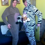 The crime-fighting duo were in onesies when they arrested a violent suspect.