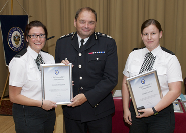 Constables Tracy Griffin and Terri Cave with their commendations, presented by Chief Constable Chris Sims.