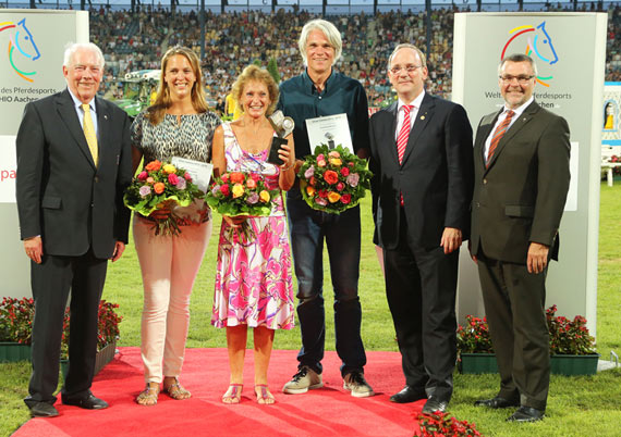 At the presentation for the Silver Camera Award at Aachen; from left, Carl Meulenbergh, President ALRV, Astrid Appels, Pam Langrish, Arnd Bronkhorst, Hubert Herpers, CEO Sparkasse Aachen and Helmut Schiffer, General Manager Rheinischer Sparkassen- und Giroverband.
