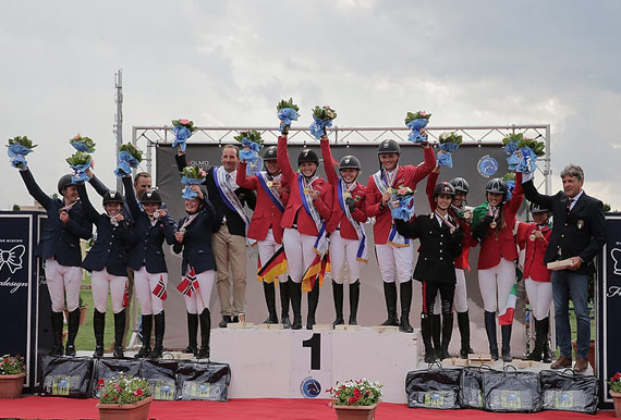 On the podium for the Young Riders Team Championship at the FEI European Jumping Championships for Children, Juniors and Young Riders 2014 at Arezzo, Italy, from left, the silver medallists from Norway, the gold medallists from Germany and the bronze medallists from Italy.
