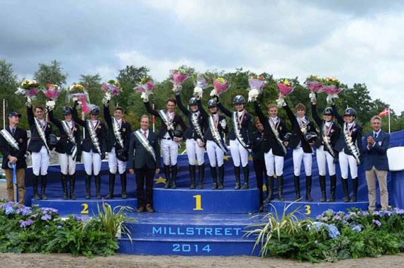On the podium for Team Eventing at the FEI European Pony Championships 2014, L-R: Silver - Great Britain, Chef d'Equipe Gary Parsonage, Thomas Tulloch, Isabelle Upton, Chelsea Pearce, Oliver Williams; Gold - France, Chef d'Equipe Emmanuel Quittet, Victor Levecque, Yfke Bourget, Marine Bolleret, Heloise Le Guern: Bronze - Italy, Chef d'Equipe Zillia Pearse, Matteo Guiducci, Manfredi Foschi, Maria Sole Girardi and Emma Pasqualini, trainer Jacapo Comelli.
