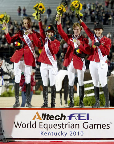 Germany stormed to victory in the team Jumping at the 2010 Alltech FEI World Equestrian Games in Kentucky, USA.  L-R: Carsten-Otto Nagel, Meredith Michaels-Beerbaum, Marcus Ehning and Janne-Freidericke Meyer.