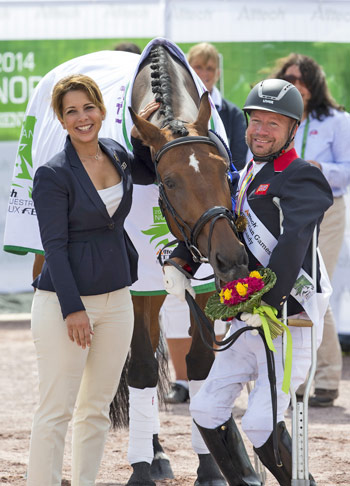 FEI President Princess Haya celebrates freestyle medal day at the Alltech FEI World Equestrian Games with triple gold medallists Zion and Lee Pearson (GBR), the world's most successful Para-Equestrian Dressage athlete.