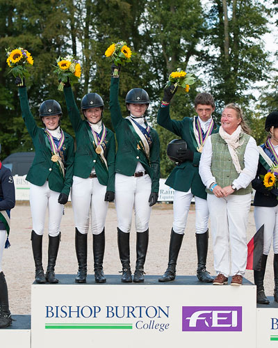 Ireland claimed team gold for the second year in succession at the FEI European Eventing Championships for Juniors 2014 at Bishop Burton College in Yorkshire, Great Britain. L-R: Lucy Latta, Susie Berry, Nessa Briody, Cathal Daniels who also claimed Individual silver, and Chef d'Equipe Debbie Byrne.