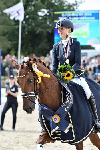 Verden Six Year Old Dressage Champion Dancer Forever, with Kirsten Brouwer. © Karl-Heinz Frieler