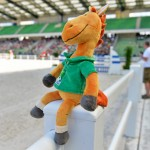 WEG mascot Norman enjoys the jumping at the test events in June.