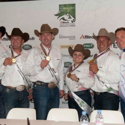 The US reining team enjoy their time on the podium.