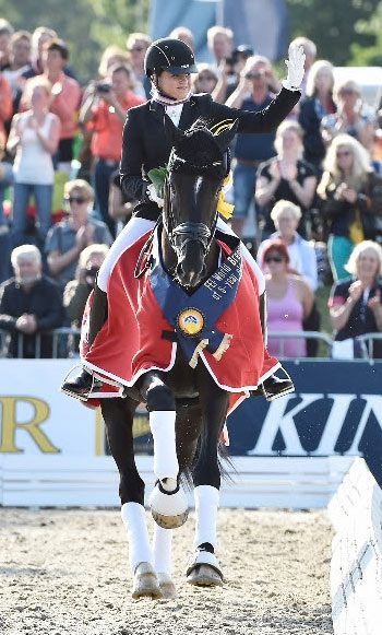 FEI World Champion five-year-old dressage horse Sezuan, ridden by Dorothee Schneider.