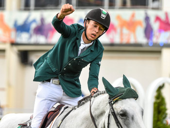 Bertram Allen and Molly Malone V after their win in the Longines Grand Prix at the Discover Ireland Dublin Horse Show on Sunday.