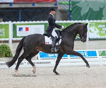 Canada's David Marcus and Chrevi's Capital put up a score of 70.357% in their made their world championship debut at Normandy.