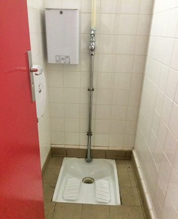 "The so-called ""starting block"" toilets at d'Ornano Stadium."