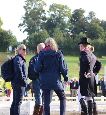 British eventers, including Zara Phillips, left, and Oliver Townend, right, have a pow-wow.