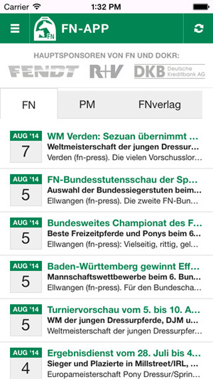 As well as the World Equestrian Games, Germany's app also covers the National Championships early next month.