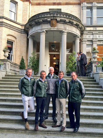 Ireland's Nations Cup team pictured outside the French Ambassador's residence in Dublin on Thursday night, from left Dermott Lennon, Bertram Allen, Irish team manager Robert Splaine, Darragh Kenny and Cian O'Connor.