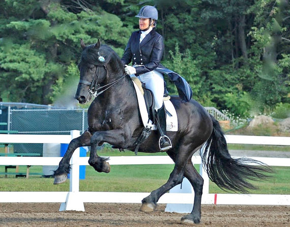 Thys shows off the canter that helped him win the High Score FEI at the Vermont Dressage Days show with trainer, Liz Austin.