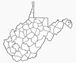 Location of Martinsburg in Berkeley County, West Virginia.
