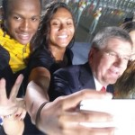 Young Olympians capture the moment with IOC boss Thomas Bach
