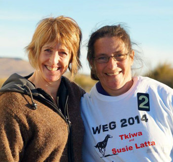 Susie Latta on the eve of her departure from Otago last week, with supporter Christine Bain, who started the Susie and Tkiwa Supporter's Club on Facebook, selling t-shirts and other products to help fund the WEG trip.