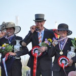 Wilbrord van den Broek (NED) won individual gold at the FEI World Single Driving Championships, with Germany's Claudia Lauterbach taking silver (left) and compatriot Marlen Fallak claiming bronze.