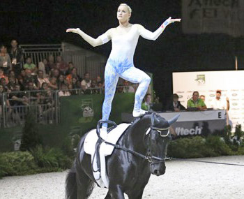 Britain's Joanne Eccles leads the female vaulters at WEG.