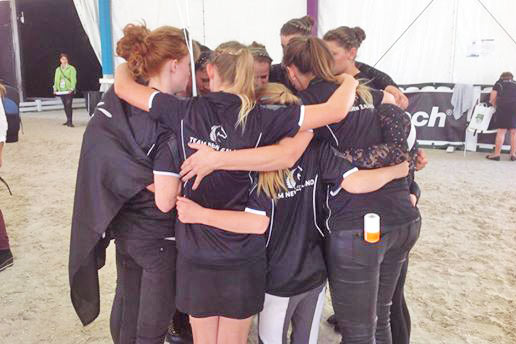 Team huddle: New Zealand's vaulting team has made it through to the final.