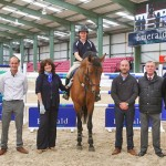 Pictured at the test day for Emerald International Equestrian Centre in Co Kildare, from left, Pippa McDonald-Clinch (show director), Michael Buckley (project manager at Emerald), Caroline Teltsch (event manager), show jumper Tholm Keane on Delano W, James Buckley (managing director), Noel Buckley (director) and Noel Boyle (event director).