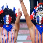 Keen French fans get right into the spirit of competition.