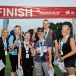 The Spillers team at the finish line of the Thames Path Challenge, from left, Becky Spencer, Laura Meszaros, Ali Ashley, Vanessa Macdonald, James Cassells and Nicki Grennan.